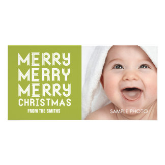 MERRY MERRY CHRISTMAS HOLIDAY PHOTO CARD GREEN