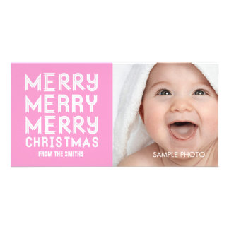 MERRY MERRY CHRISTMAS HOLIDAY PHOTO CARD PINK