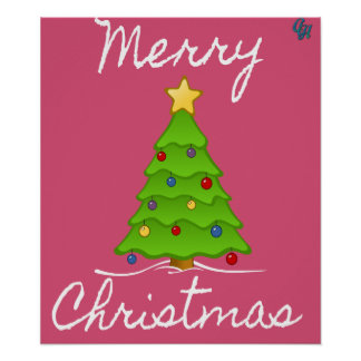 Merry Merry Christmas Tree Poster