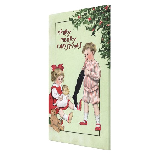 Merry Merry ChristmasKids with Toys by Tree Gallery Wrap Canvas