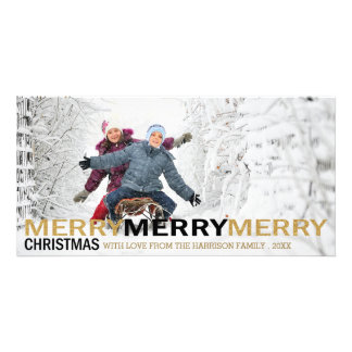 Merry Merry Merry Christmas Holiday Photo Card