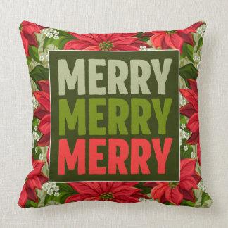 """Merry Merry Merry"" Christmas Poinsettia Cushion"