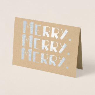 Merry. Merry. Merry. Company or Family Christmas Foil Card