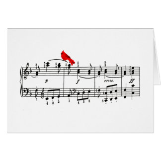 Merry Music Cardinal Christmas Greeting Card