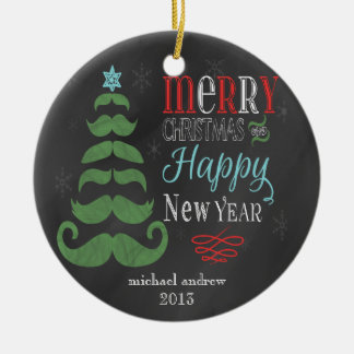 Merry Mustache Chalkboard Christmas Ornament