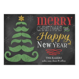 "Merry Mustache Chalkboard Flat Christmas Card 5"" X 7"" Invitation Card"