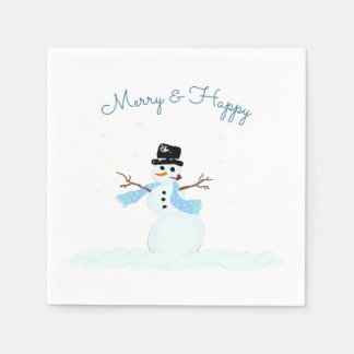 Merry n Happy Snowman Christmas Party Paper Napkins