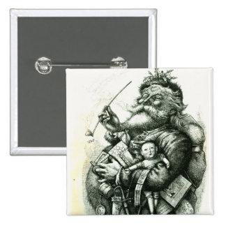 Merry Old Santa Claus 15 Cm Square Badge