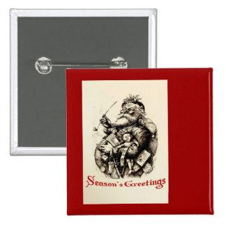Merry Old Santa Claus Season's Greetings 15 Cm Square Badge