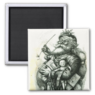 Merry Old Santa Claus Square Magnet