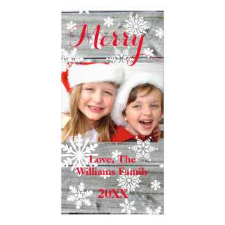 Merry Old Wood Christmas Snowflakes Photo Card