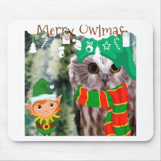 Merry Owlmas Holiday Gift Mouse Pad