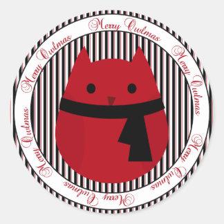 Merry Owlmas Red Black Christmas Owl Sticker
