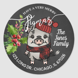 Merry Pigmas Red Buffalo Plaid Address Classic Round Sticker