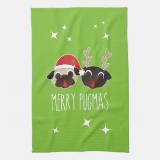 Merry Pug Santa and Reindeer Pugs Dish Towel