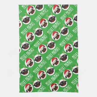 Merry Pugmas Santa Reindeer Pugs Pattern Tea Towel
