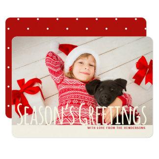 Merry Red   White Photo Season's Greeting Card