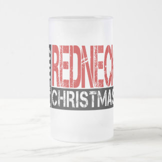 Merry Redneck Christmas Wishes Frosted Glass Mug