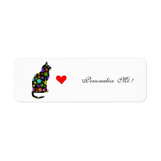 Merry Retro Christmas Holiday Girly Cute Cat Return Address Label