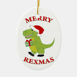 Merry Rexmas T-Res dinosaur design Christmas Ornament