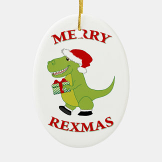 Merry Rexmas T-Rex Christmas Ornament