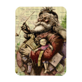 Merry Santa Claus and The Christmas Tree Rectangular Photo Magnet