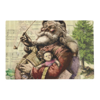 Merry Santa Claus and The Christmas Tree Laminated Placemat