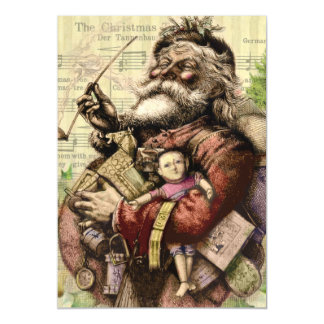 Merry Santa Claus and The Christmas Tree Magnetic Invitations