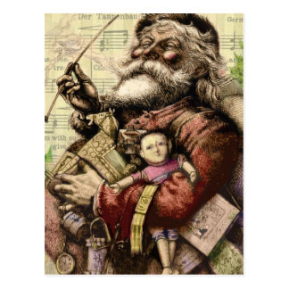 Merry Santa Claus and The Christmas Tree Postcard