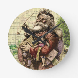 Merry Santa Claus and The Christmas Tree Round Clock