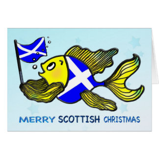 MERRY SCOTTISH CHRISTMAS fish holding flag CARD