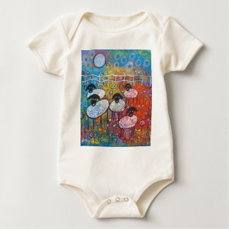 Merry Sheep In The Flowers Baby Bodysuit