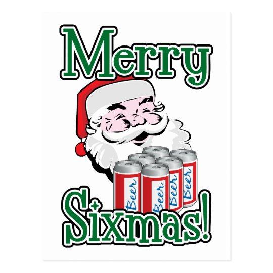 Merry Sixmas! Santa Loves A Six Pack! Postcard