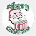 Merry Sixmas! Santa Loves A Six Pack! Classic Round Sticker