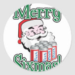 Merry Sixmas! Santa Loves A Six Pack! Stickers