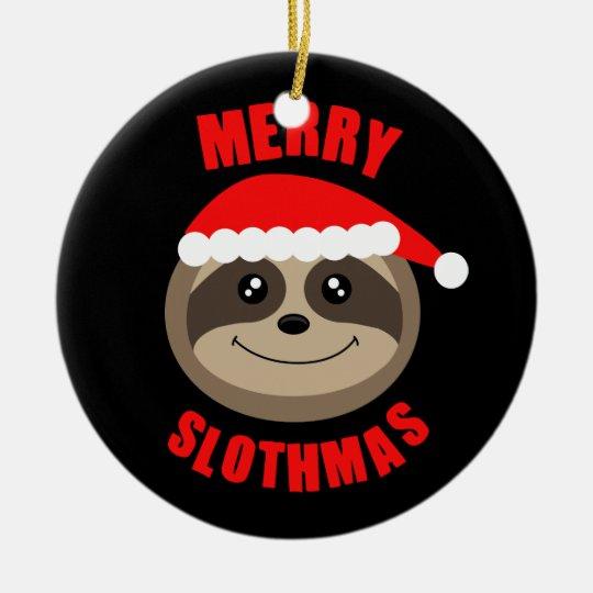 Merry Slothmas Sloth Xmas Christmas Tree Ornament