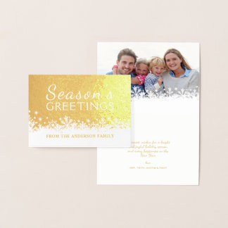 Merry Snowflakes Christmas Holiday Gold Foil Foil Card