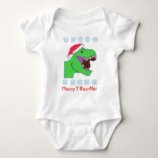"""Merry T Rex-Mas"" Christmas Festive Dinosaur Baby Bodysuit"