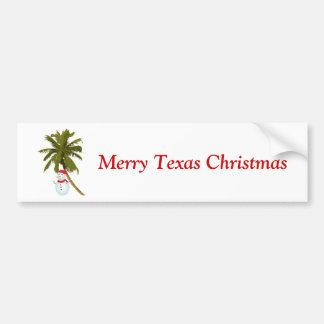 Merry Texas Christmas, snowman under palm Car Bumper Sticker