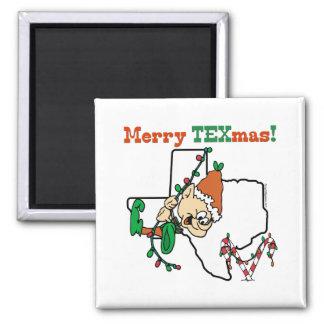 Merry Texmas Christmas Square Magnet