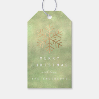 Merry To Holiday Gift Green Gold Linen Snowflakes Gift Tags