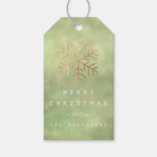 Merry To Holiday Gift Green Gold Linen Snowflakes