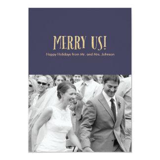 Merry Us! | Holiday Photo Card-Glitter & Navy 13 Cm X 18 Cm Invitation Card