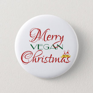 Merry Vegan Christmas 6 Cm Round Badge