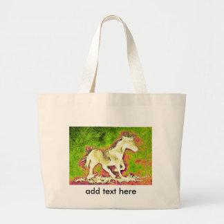 Merry Warm Holidays white horse Jumbo Tote Bag