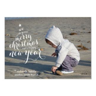 Merry White Tree Holiday Photo Card