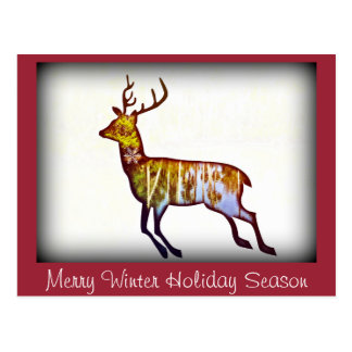 Merry Winter Holiday Season postcard or invitation