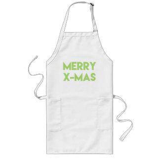 Merry X-Mas, Modern Green Typography Christmas Long Apron