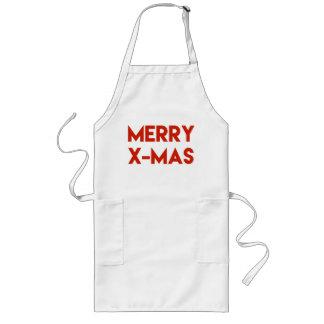 Merry X-Mas, Modern Red Typography Christmas Long Apron