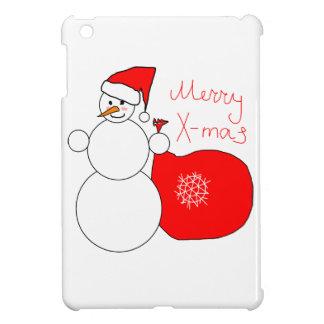Merry X-Mas Snowman in Santa Hat Carrying Bag iPad Mini Case